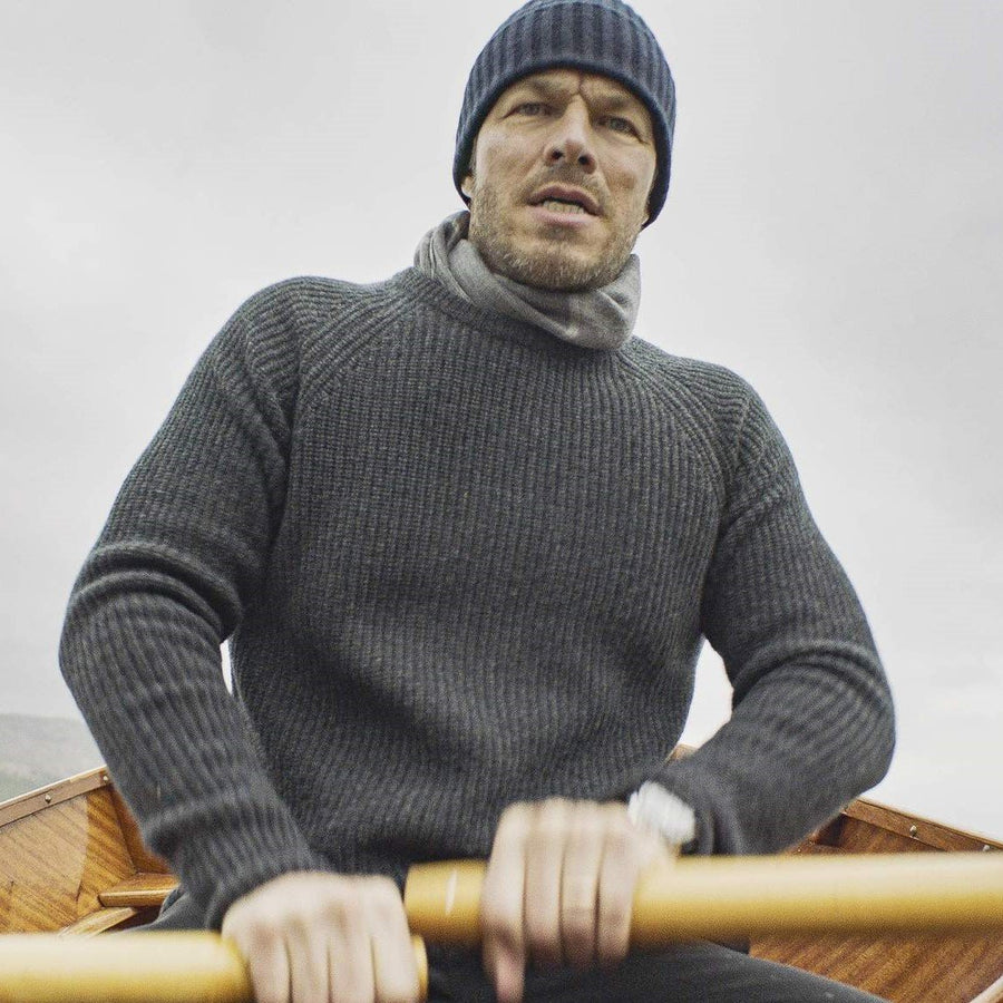 Charcoal Cashmere/Merino Fisherman's Rib Sweater - The Living Daylights Limited Edition By N.Peal