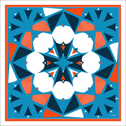 Landmark 90cm Square Scarf - Orange / Blue