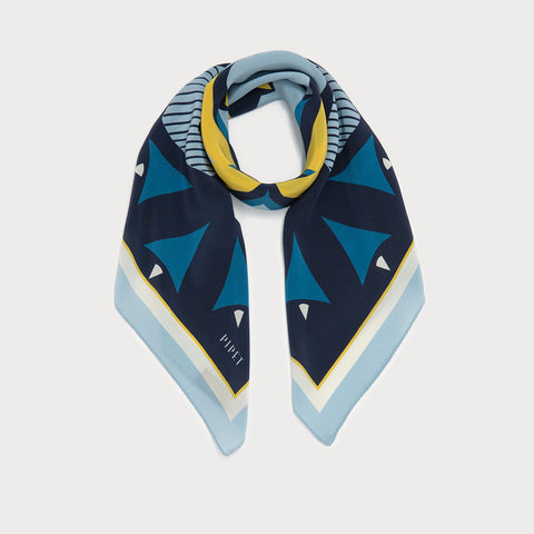 Landmark 90cm Square Scarf - Navy / Yellow