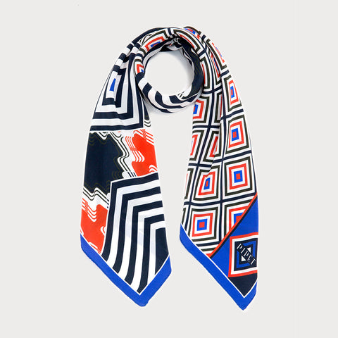 Baltard 90cm Square Scarf - Black / Red