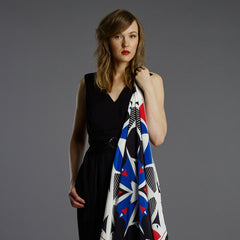 Landmark 90cm Square Scarf - Black / Red