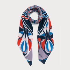 Warner 90cm Square scarf - Blue / Orange