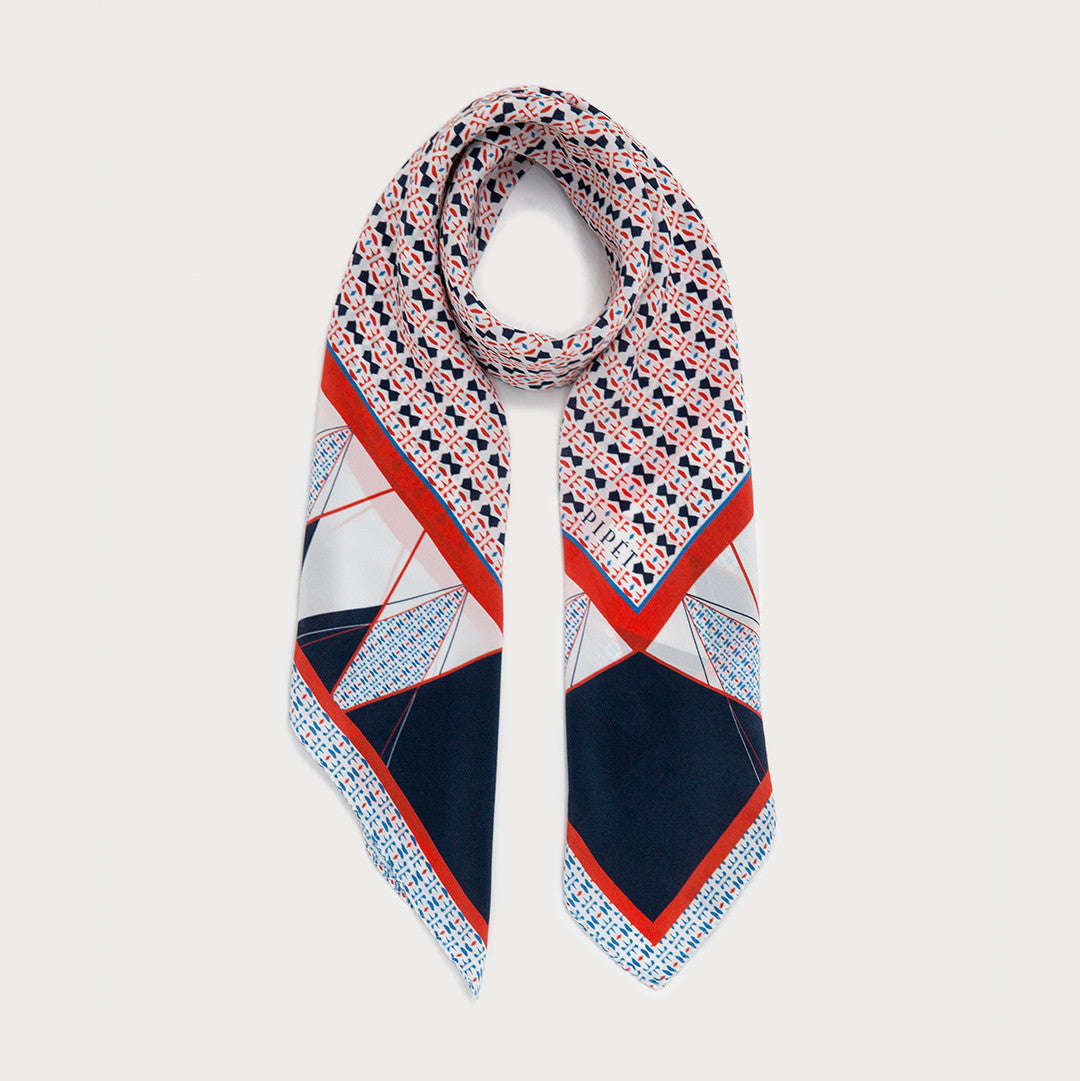 Emile 90cm Square Scarf - Blue / Orange