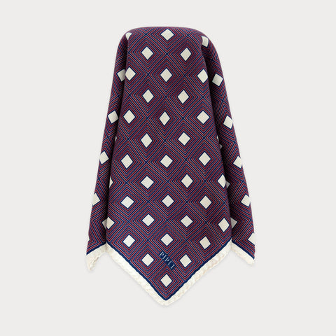 Barbican Men's Pocket Square - Navy / Magenta