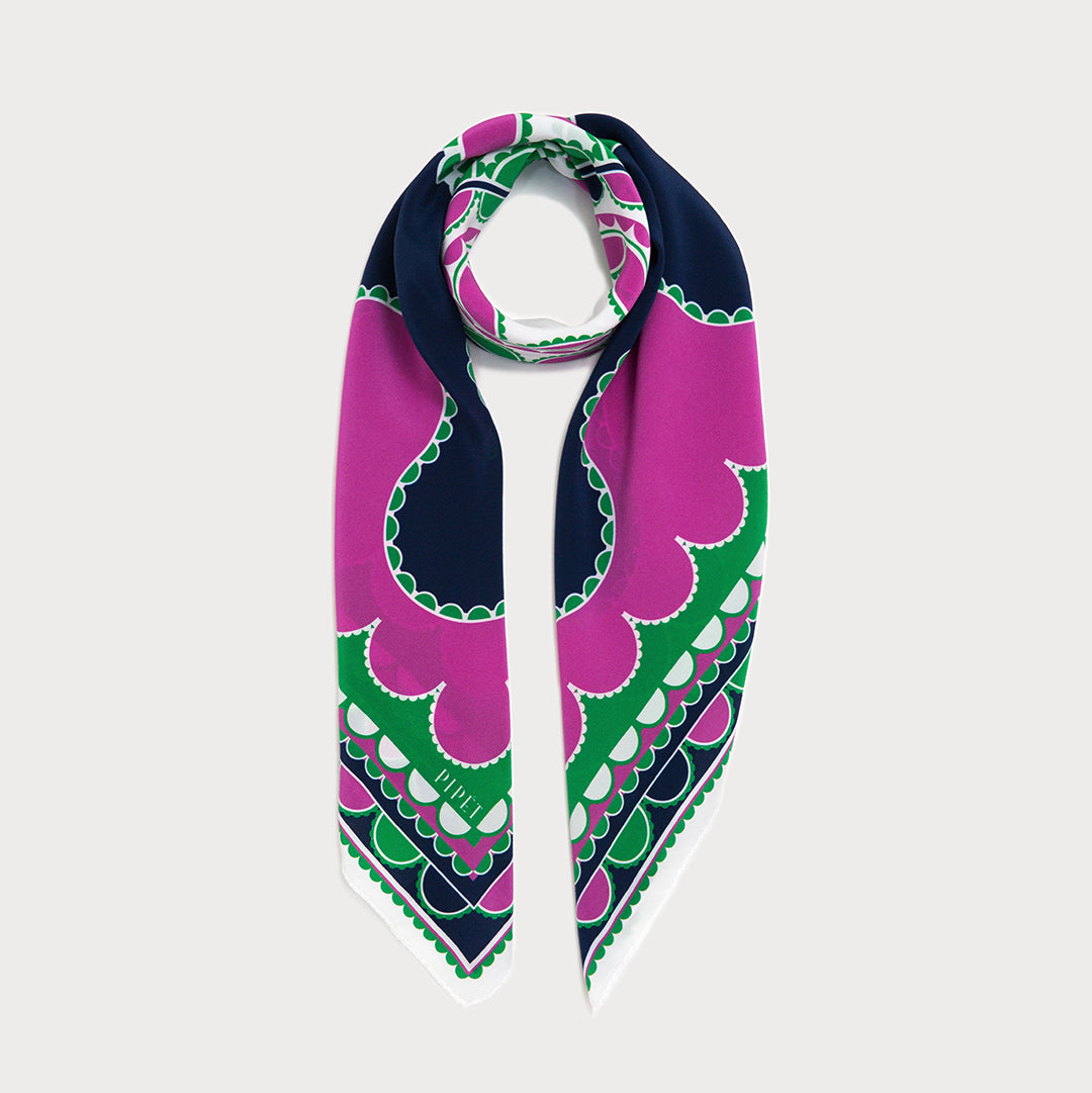 Barbican classic 90cm square silk scarf in Mauve, Navy and Green
