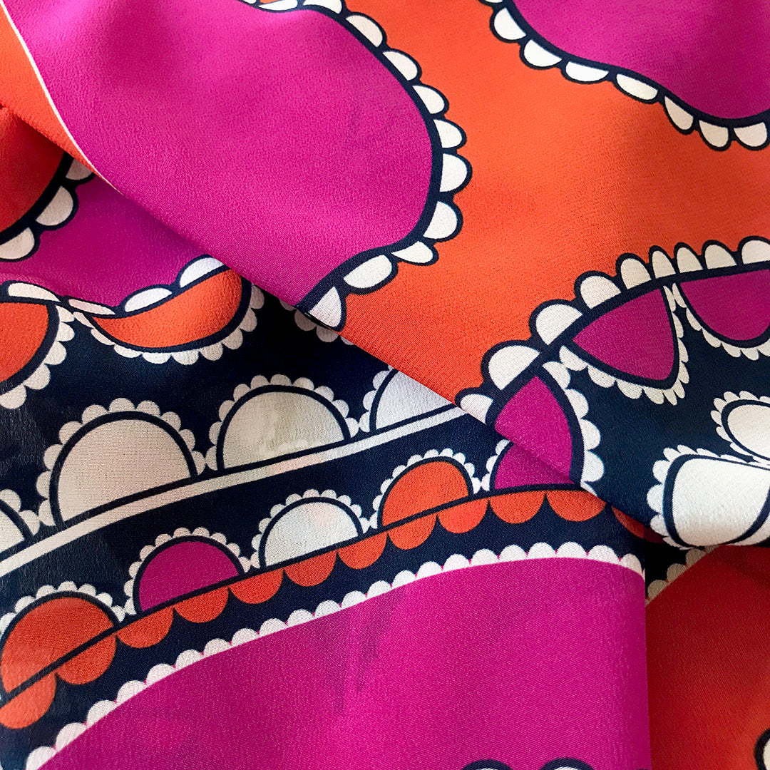 Barbican Skinny Scarf - Orange/Magenta