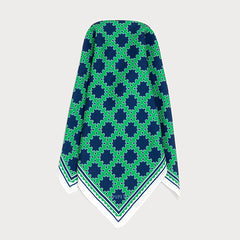 Barbican Mens silk twill Green and Navy Blue pocket square