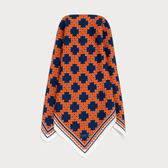 Barbican Mens silk twill Orange and Navy Blue pocket square
