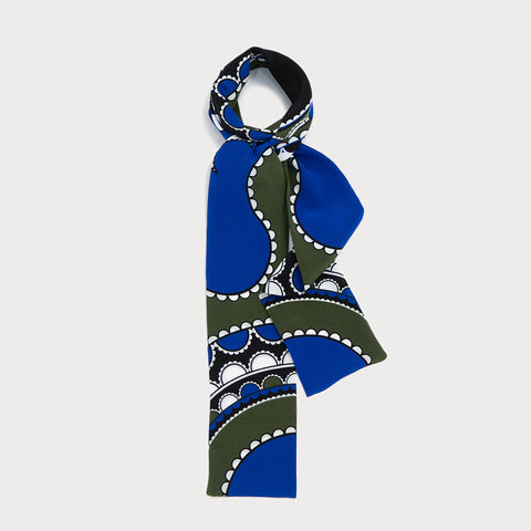 Barbican Skinny Scarf - Khaki Green / Royal Blue