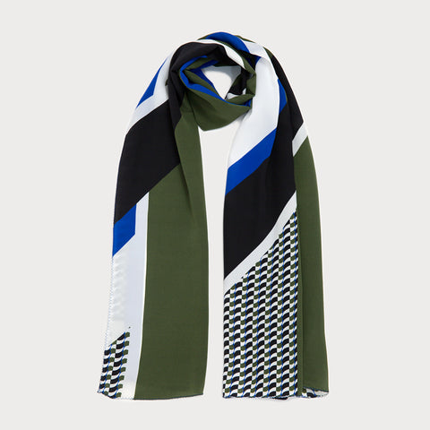 Marvel Long Scarf - Black / Khaki Green