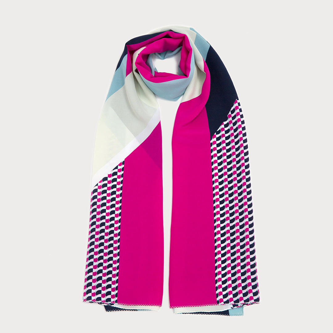 Marvel Long Scarf - Navy / Fuchsia