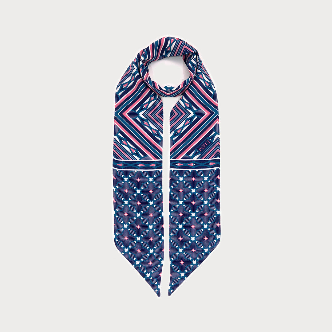 District Skinny Scarf - Dark Blue / Blush Pink