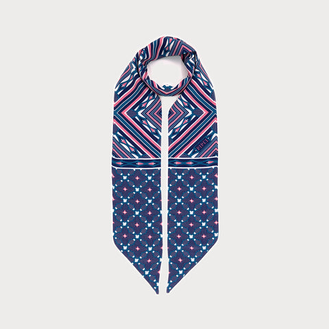 District Skinny Necktie - Dark Blue / Blush Pink