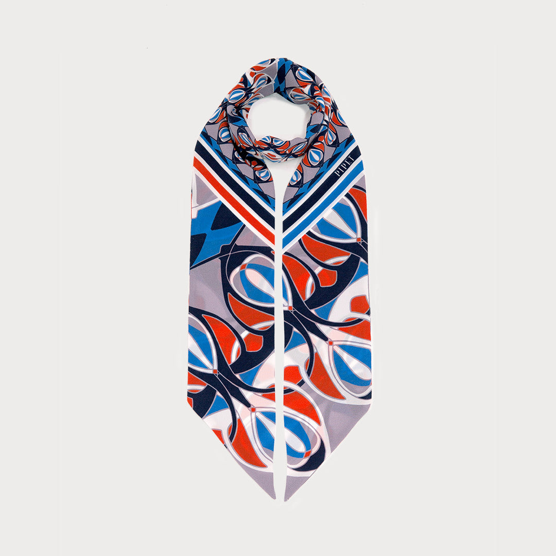 Warner Skinny Necktie - Blue / Orange