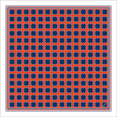 Barbican Men's Pocket Square - Orange / Navy