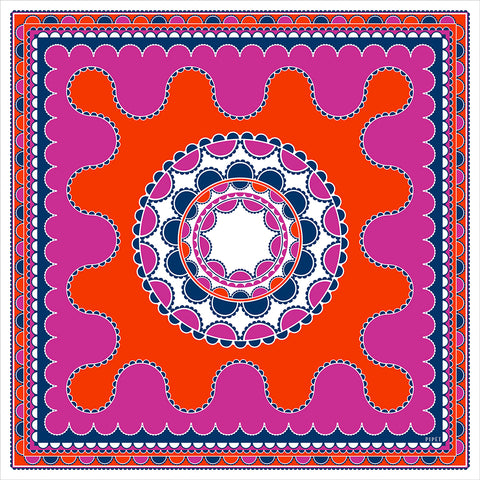 Barbican 90cm Square Scarf - Orange / Magenta