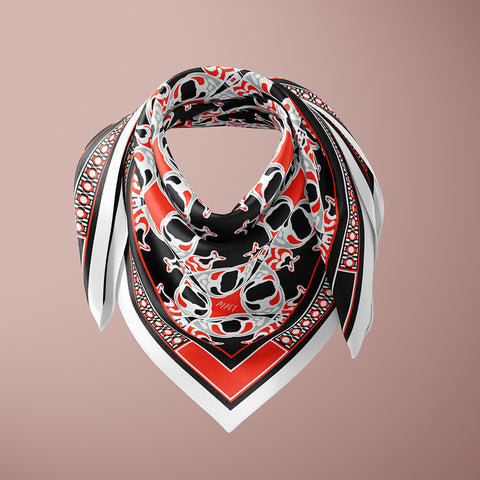 Dufrène 90cm Square scarf - Black / Red