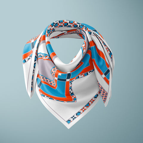 Horta 90cm Square Scarf - Orange / Blue
