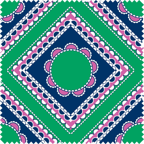 Willoughby Cotton Sateen Navy/Green