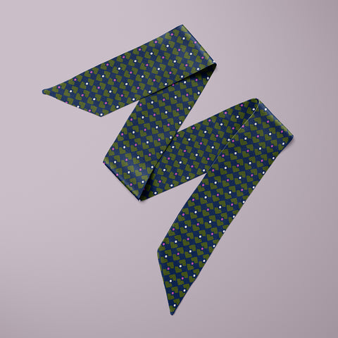 Polka Mini Scarf - Navy / Yellow