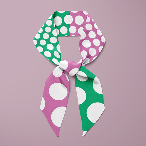 Pipet design Polka silk scarf in Mauve / Green