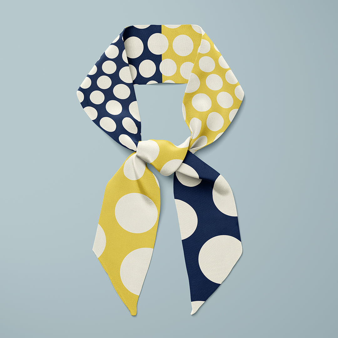 Pipet design Polka silk scarf in Navy Yellow