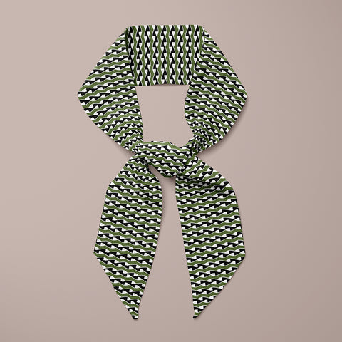 Twist Mini Scarf - Black / Khaki