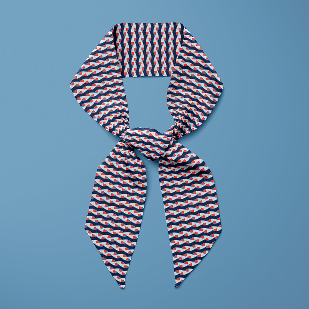 Twist Mini Scarf - Blue / Orange