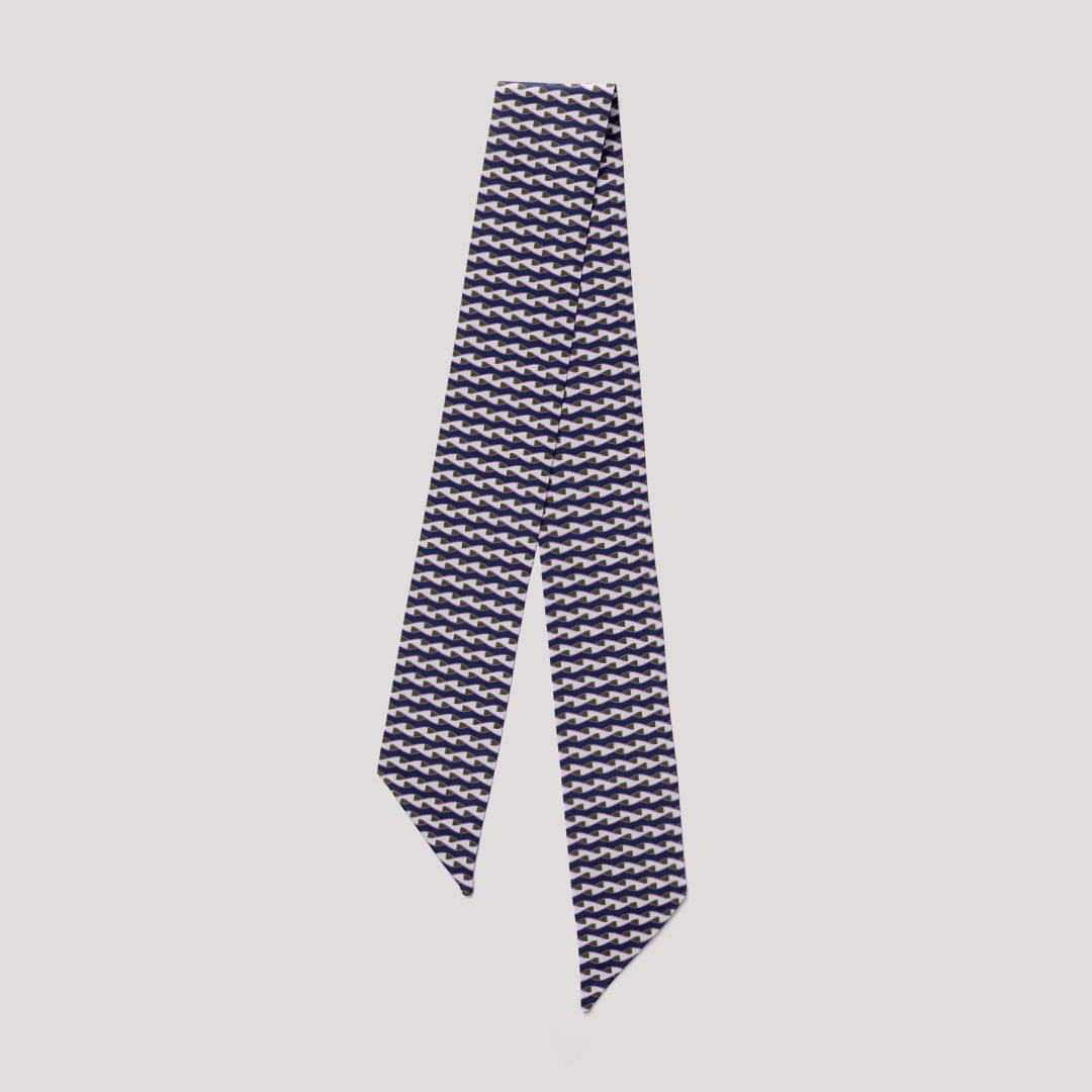 Pipet Twist mini scarf, navy anf grey printed silk