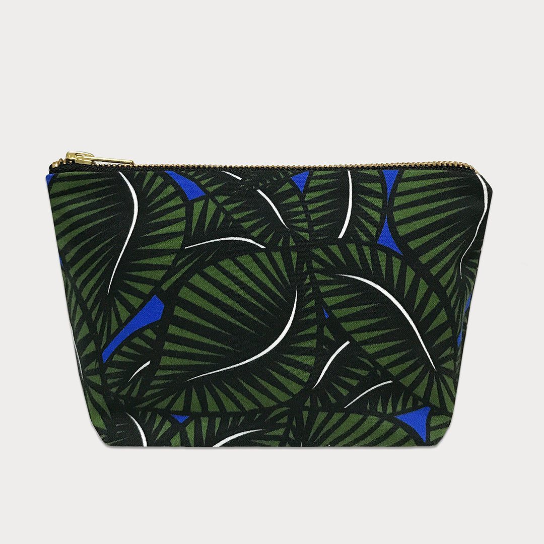 Jungle Floral Cotton Travel Pouch, Green