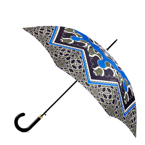 Pipet Full length Black and Khaki Green Ladies Umbrella, Made in UK