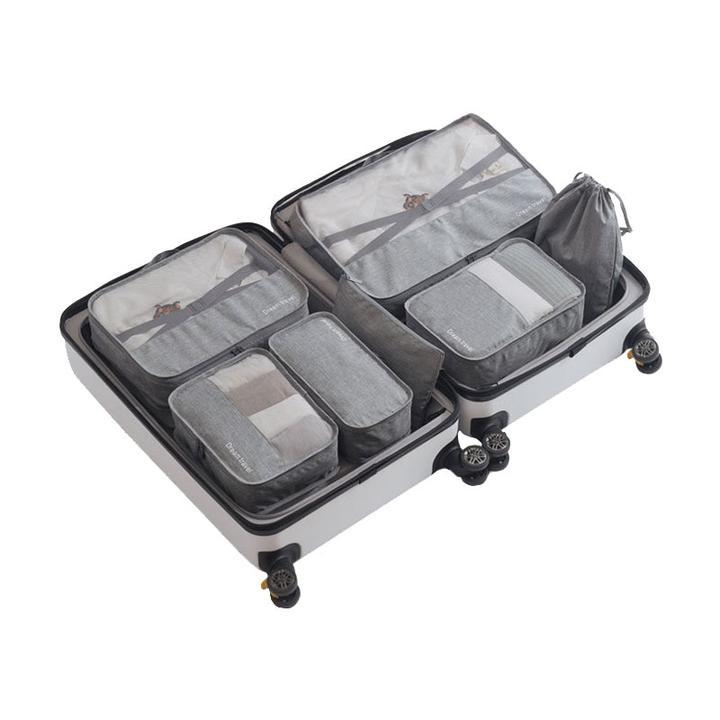 Grey 7 Piece Packing Cube Luggage Organizer Bag