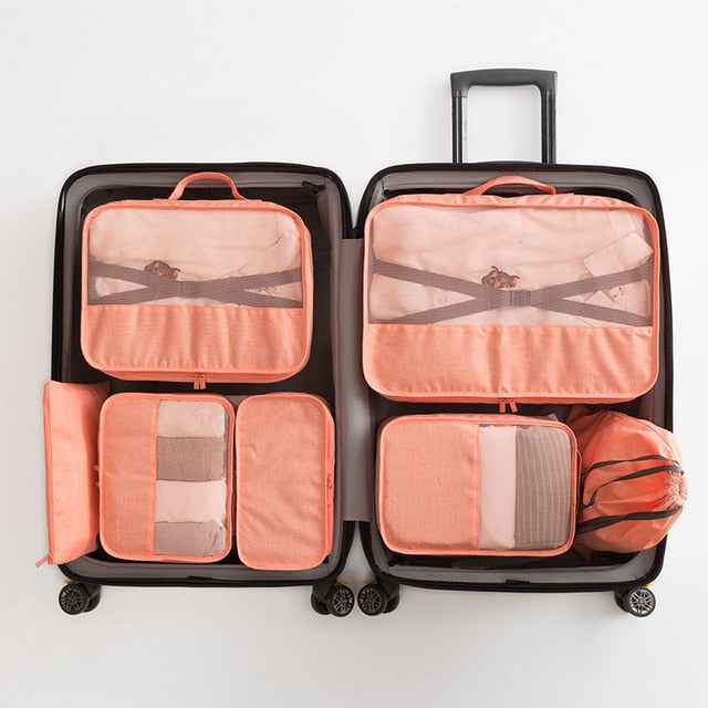 Orange Packing Cube Luggage Organizer Bag