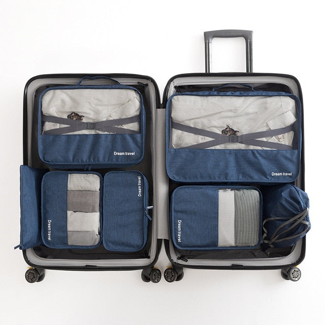 Blue Packing Cube Luggage Organizer Bag