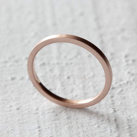 Rose Gold Square Band / Simple Flat Wedding Band