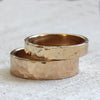 14k gold hammered ring wedding set