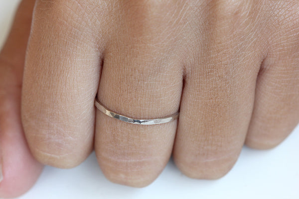 14k gold hammered band - white gold