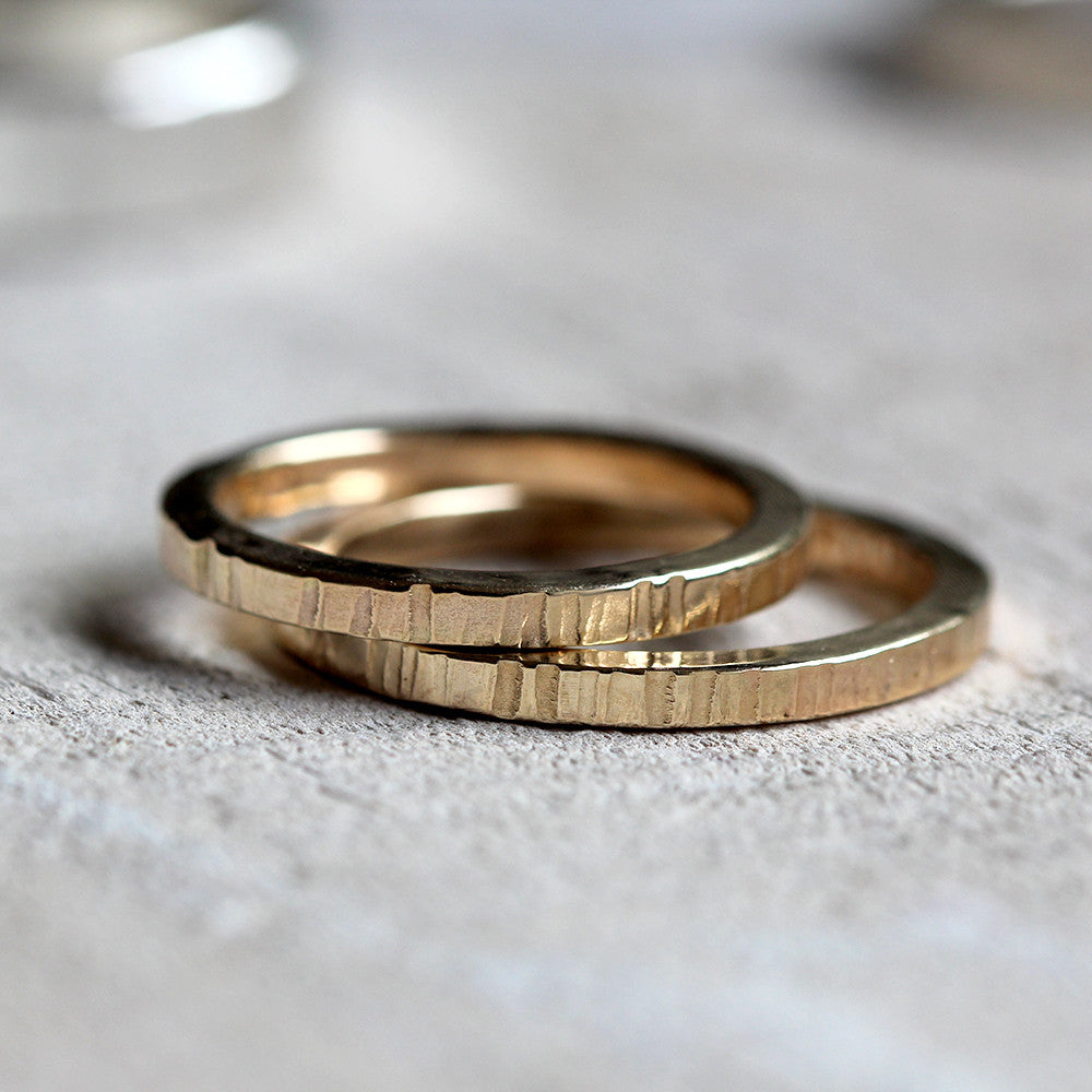 Tree bark wedding ring set - solid 14k gold