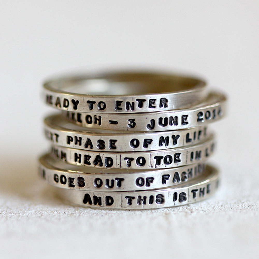 Personalized stacking rings sterling silver