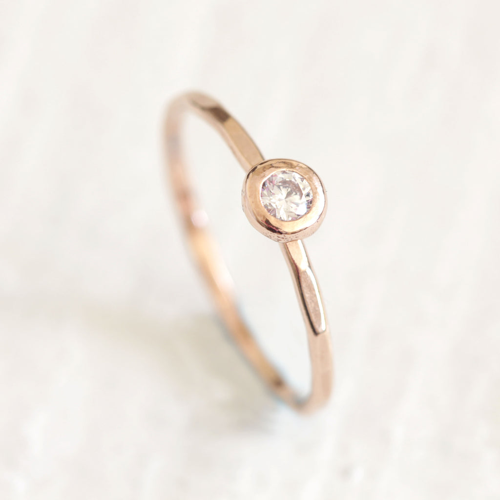 Gold Diamond Pebble Ring