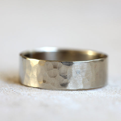 14k white gold hammered ring