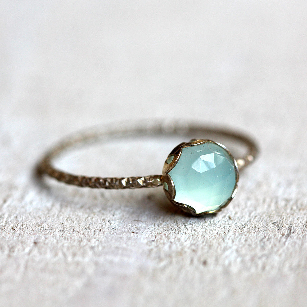 Gemstone ring - blue chalcedony ring