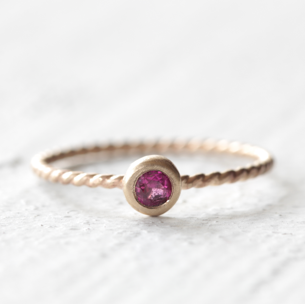Gold Ruby Twist Wire Ring - 14k Gold July Birthstone Ring