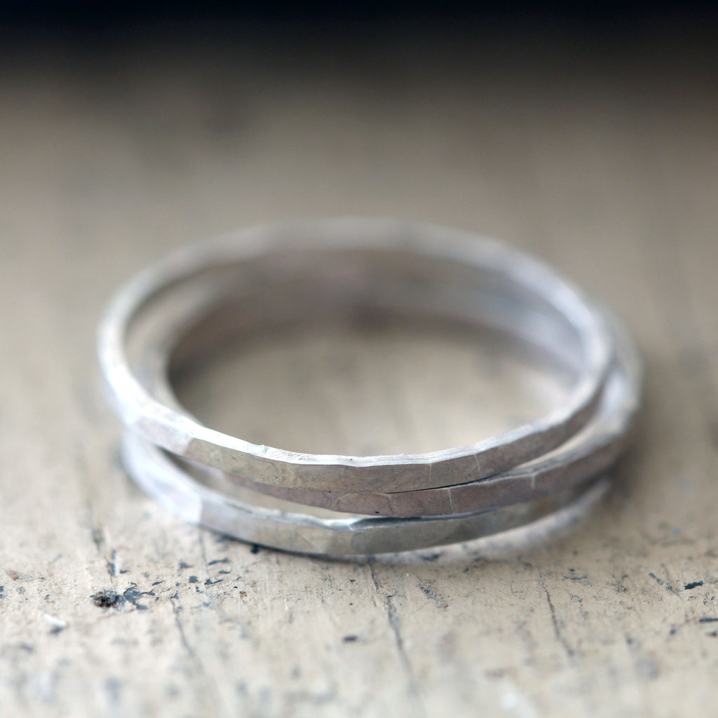 Hammered Stacking Rings Sterling Silver