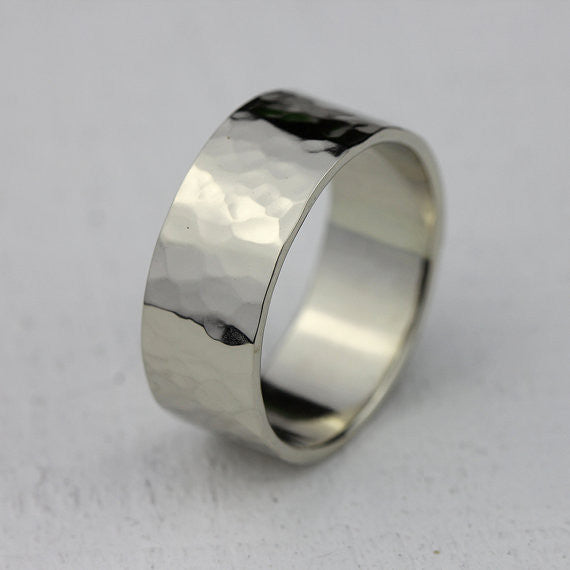 Wide Gold Hammered Ring - Solid 14k Gold