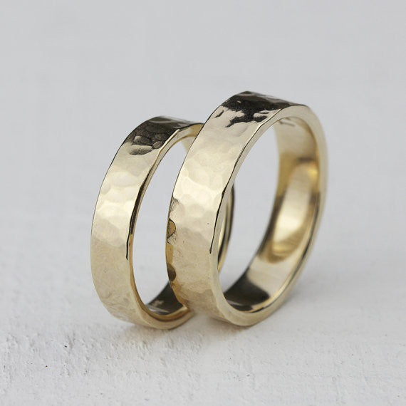 Wedding Ring Set - 14k gold hammered rings