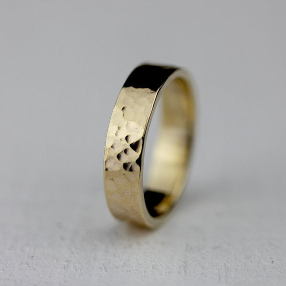 5mm wide hammered 14k gold ring