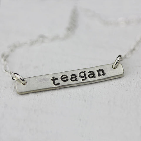 Personalized Silver Bar Necklace