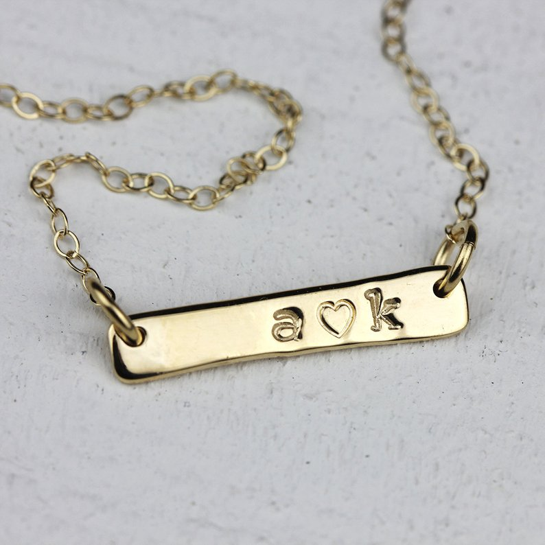 Personalized Gold Necklace Solid 14k Gold Bar Necklace