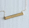 Latitude longitude gold bar necklace
